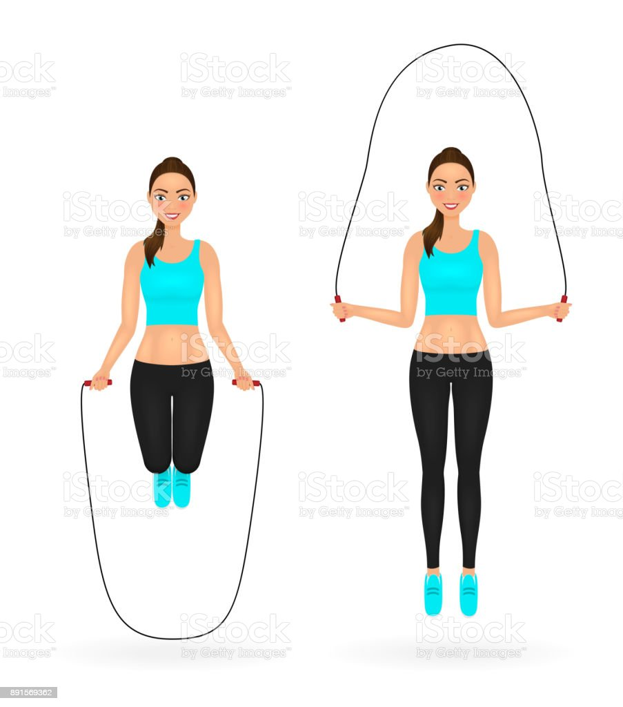 Smiling fit girl doing exercises with jumping rope. Woman in sportswear. Vector character. vector art illustration