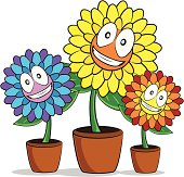 Fully editable vector illustration of a group of smiling cartoon flowers.