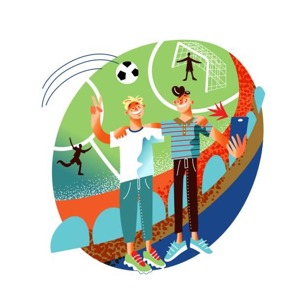 ilustrações de stock, clip art, desenhos animados e ícones de smiling football fans take selfie and suddenly flying ball gets into photo - soccer supporter portrait