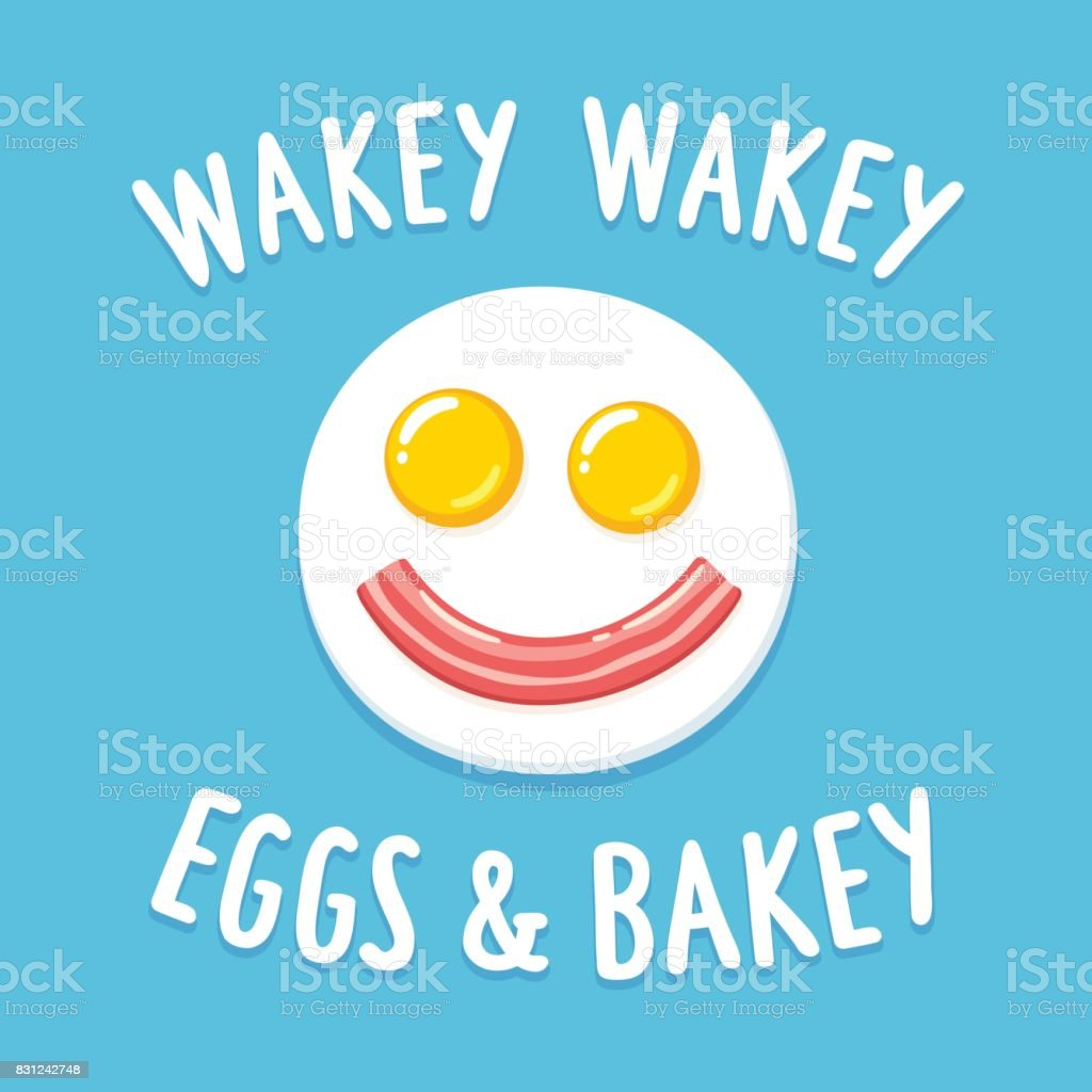 Smiling fried eggs and bacon breakfast vector art illustration