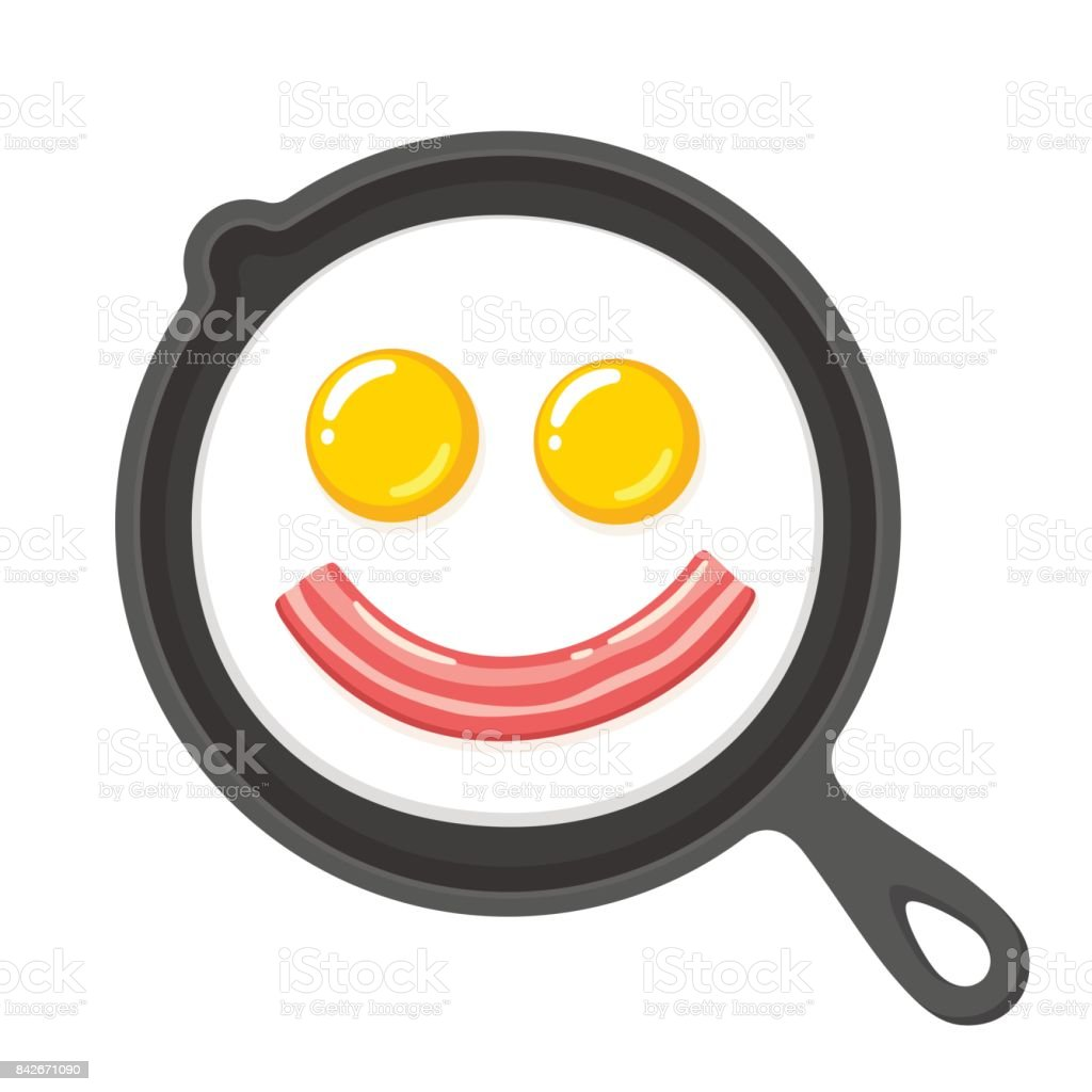 Smiling fried eggs and bacon in skillet vector art illustration