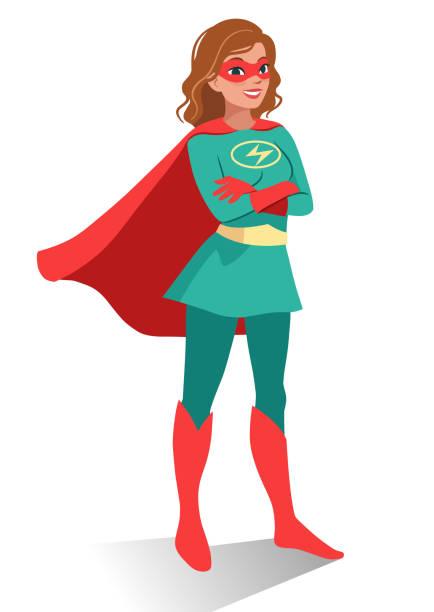 lächeln freundlich selbstbewusste junge kaukasischen frau in superhelden-kostüm und maske stand mit verschränkten armen. cartoon charakter vektorgrafik in flachen zeitgemäß isoliert auf weißem hintergrund. - superwoman stock-grafiken, -clipart, -cartoons und -symbole