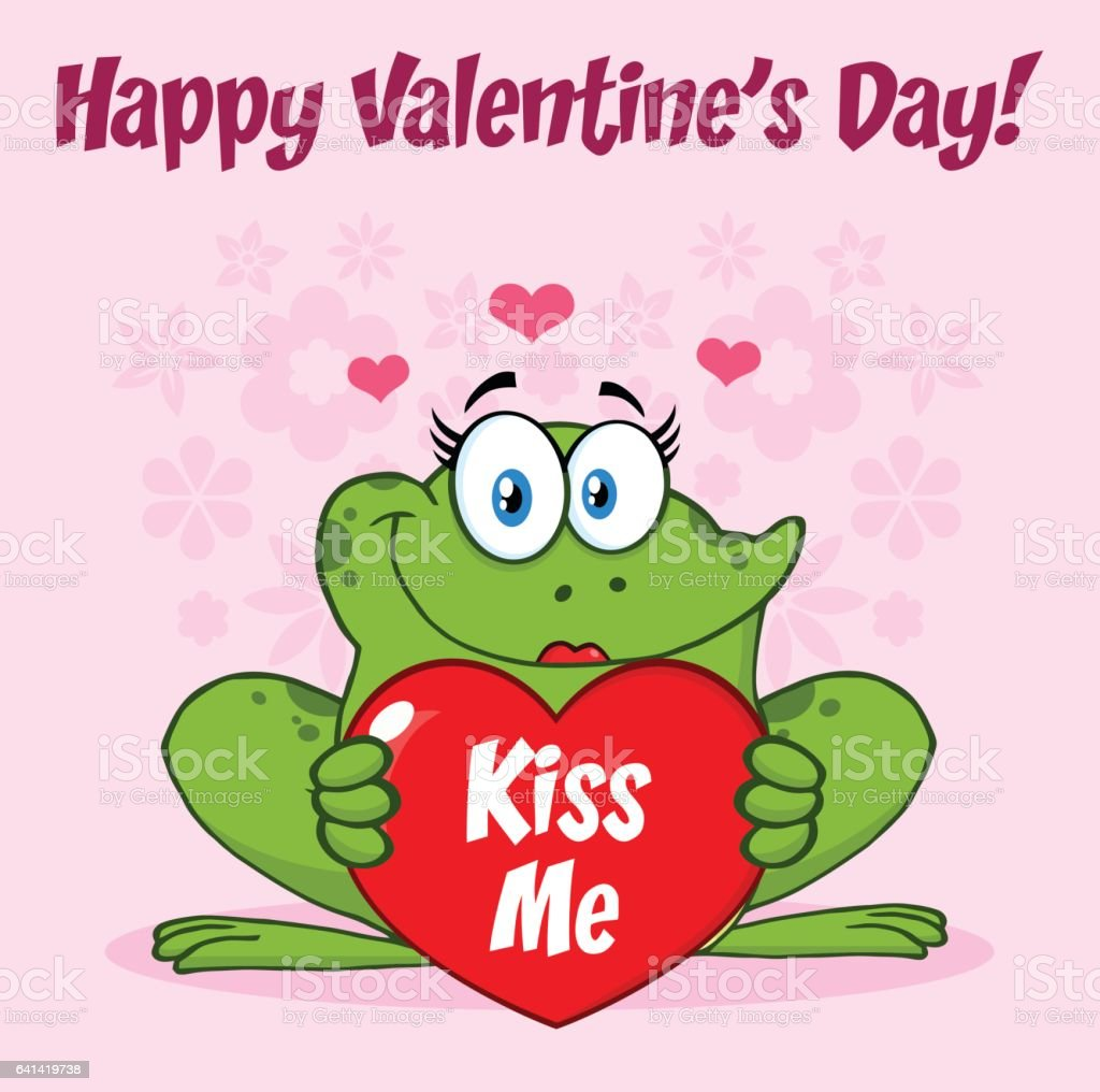 smiling frog female cartoon mascot character holding a valentine rh istockphoto com Turtle Vector Frog Prince