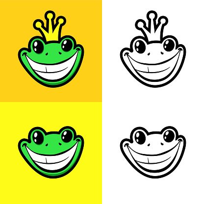 Smiling frog with crown on a head