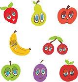 Smiling Fruit Cartoon Vector Illustration