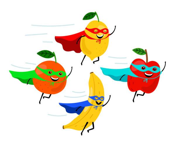 ilustraciones, imágenes clip art, dibujos animados e iconos de stock de sonrientes superhéroes de frutas - antioxidante