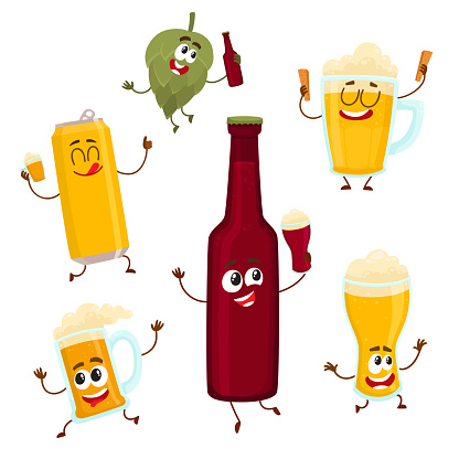 Smiling funny beer bottle, glass, can, mug hop characters, mascots