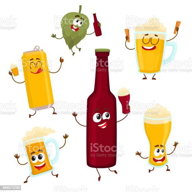 Smiling funny beer bottle glass can mug hop characters mascots vector id686970280?b=1&k=6&m=686970280&s=612x612&h=ijvbggec1dvsg5ucr jsdbopzb3giutrzqfrvnru0mg=