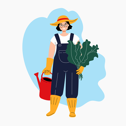 Smiling gardener with a watering can. Cartoon woman in work overalls, rubber boots, gloves and a hat. Young attractive farmer holding leaves. Vector illustration for poster, banner, website.