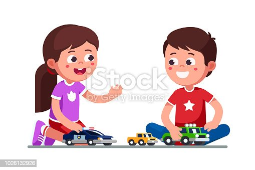 Smiling girl and boy kids playing with toy cars. Happy kids playing together. Children cartoon characters sitting on floor with toy cars and trucks. Child preschool development. Flat vector illustration isolated   on white background.