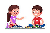 Smiling girl and boy kids playing together with toy cars and trucks sitting on floor. Child preschool development. Children cartoon characters flat vector clipart illustration.