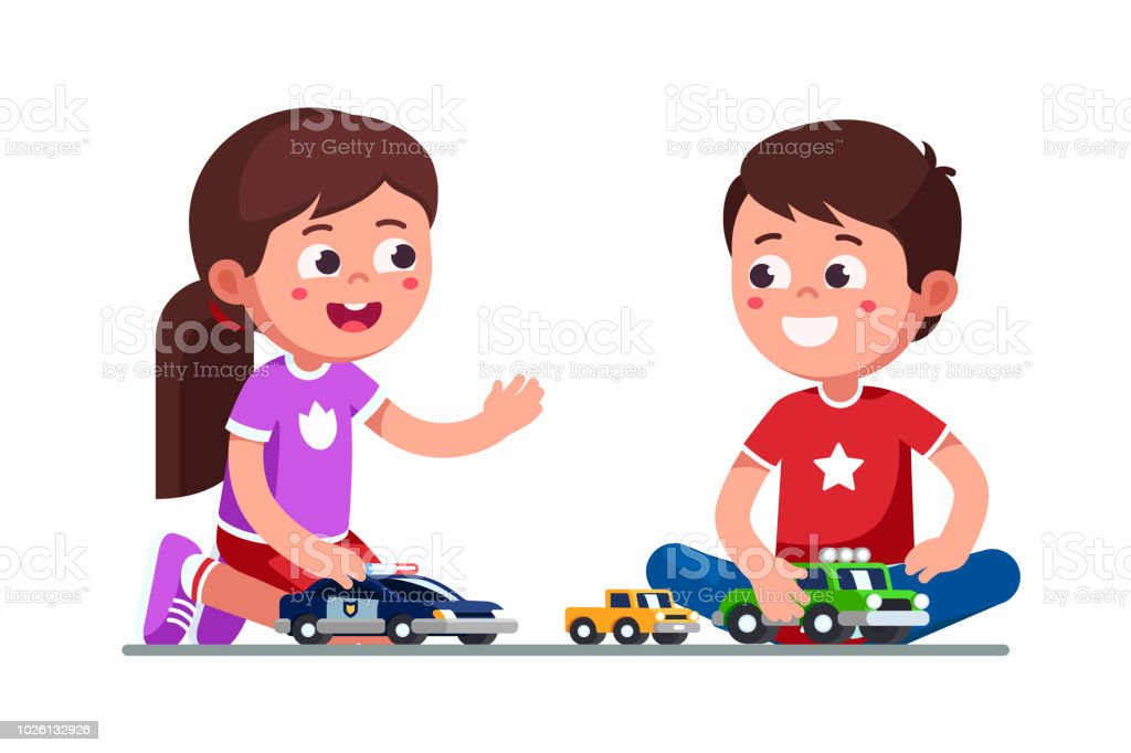 Smiling girl and boy kids playing together with toy cars and trucks sitting on floor. Child preschool development. Children cartoon characters flat vector clipart illustration. vector art illustration