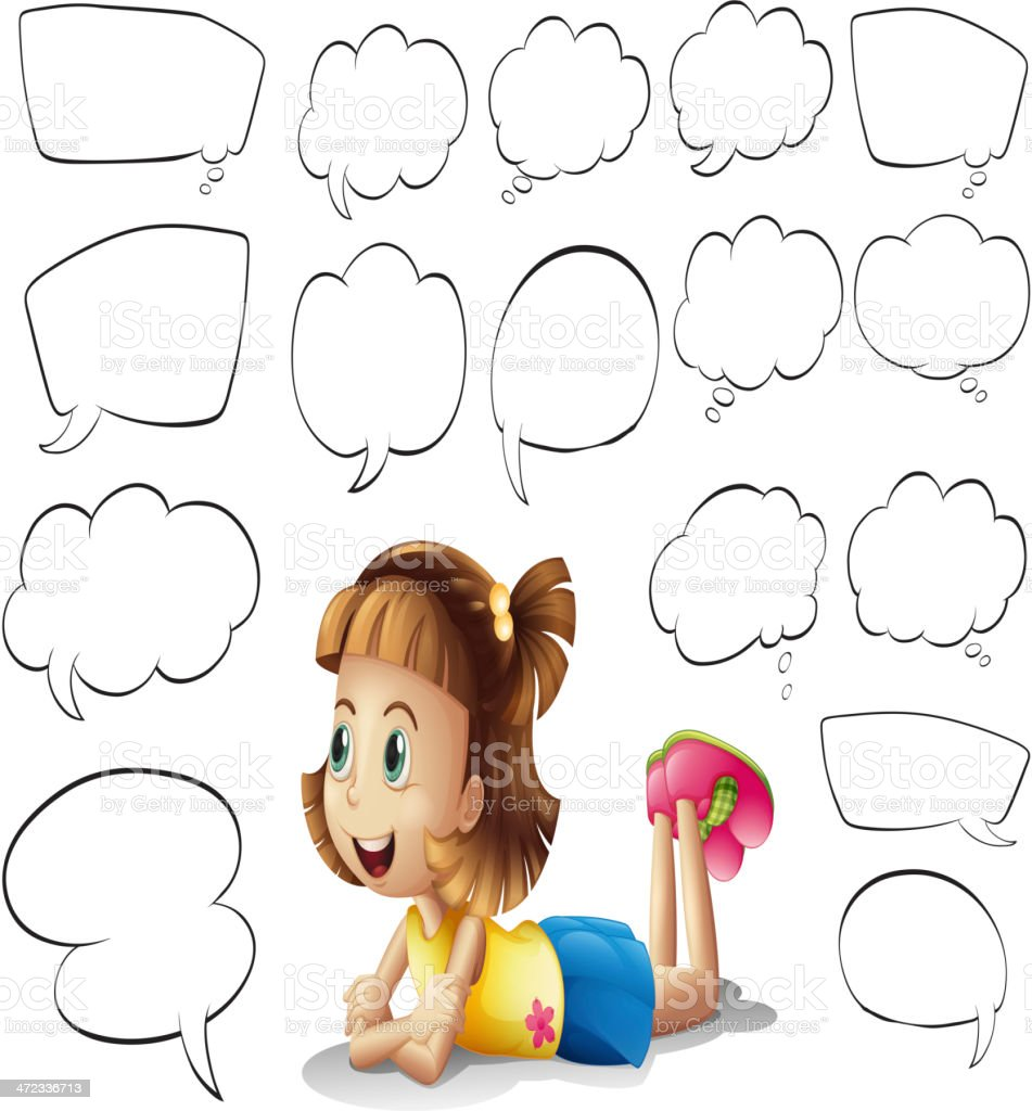 Smiling girl and speech bubbles royalty-free stock vector art