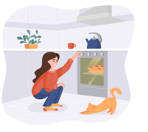 ilustrações de stock, clip art, desenhos animados e ícones de smiling girl bakes a dish in the oven. woman with cat in the kitchen preparing homemade meals for dinner. vector cooking at home concept - cooker happy