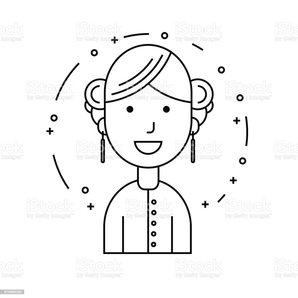 Smiling girl character, minimalism cartoon flat vector art illustration
