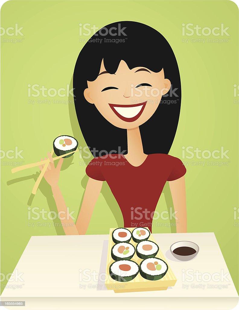 Smiling Girl Enjoying Sushi in Retro Style vector art illustration