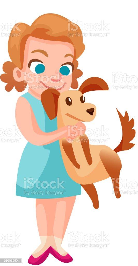 royalty free girl hugging dog clip art vector images rh istockphoto com