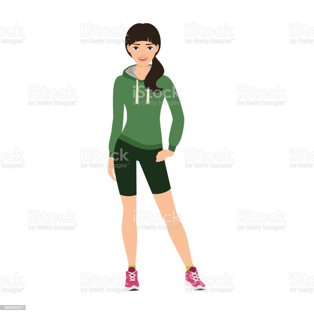 Smiling girl in a sweatshirt vector art illustration