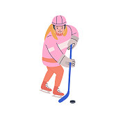 Smiling girl in cage helmet  playing ice hockey game
