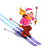 Smiling girl skiing fast down the mountain. Winter sport and entertainment. Young skier wearing waving scarf having fun gliding on snow. Flat style vector illustration isolated on white background