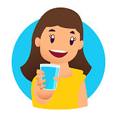 Smiling girl kids enjoying drinking water holding glasses. Happy, kids drinking water hydrating. Children cartoon characters. Flat style vector illustration