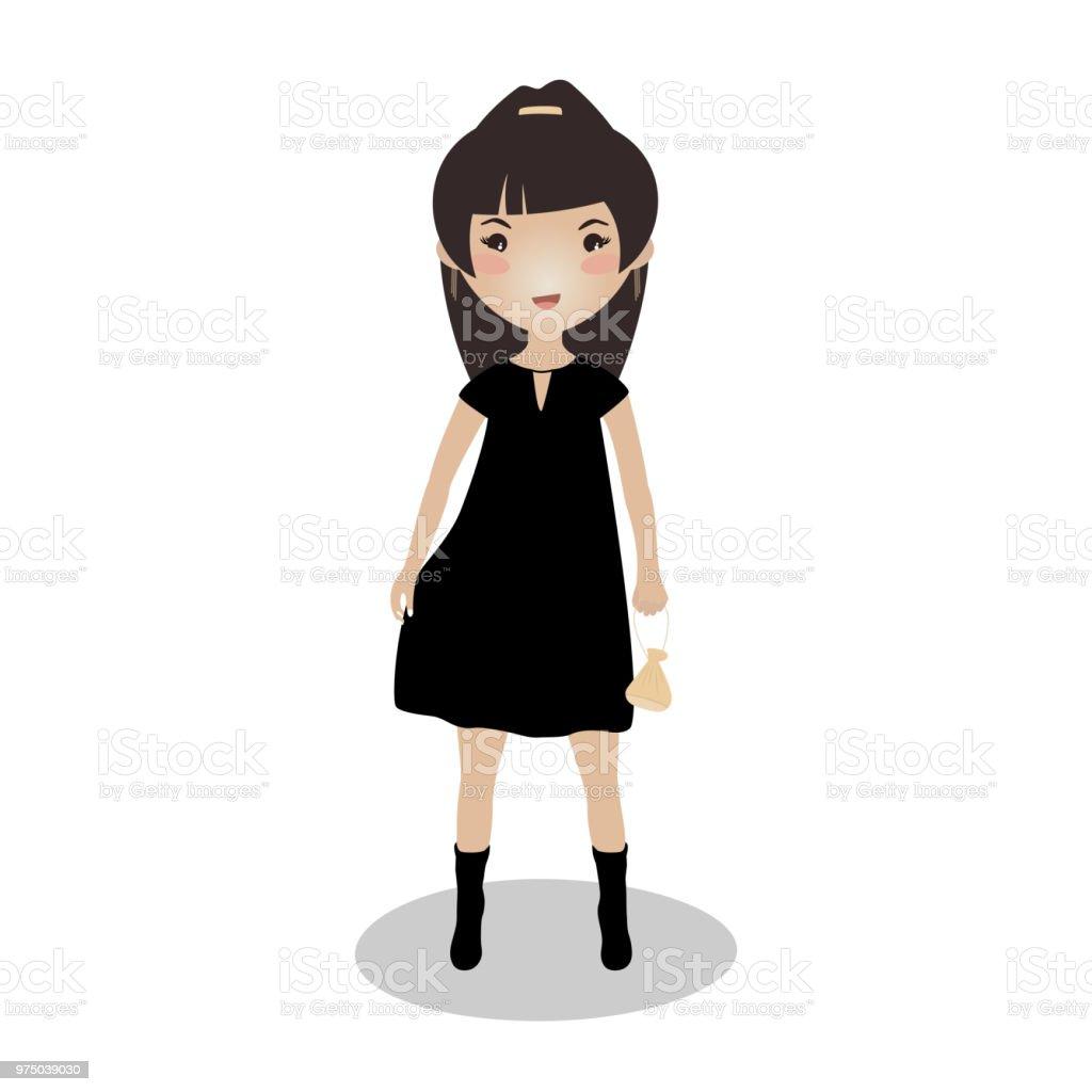 笑顔の女の子リトル ブラック ドレスイラスト 1人のベクターアート素材