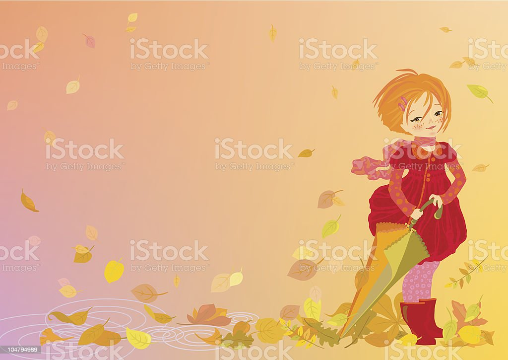 Smiling girl on abstract autumn background royalty-free smiling girl on abstract autumn background stock vector art & more images of anthropomorphic smiley face