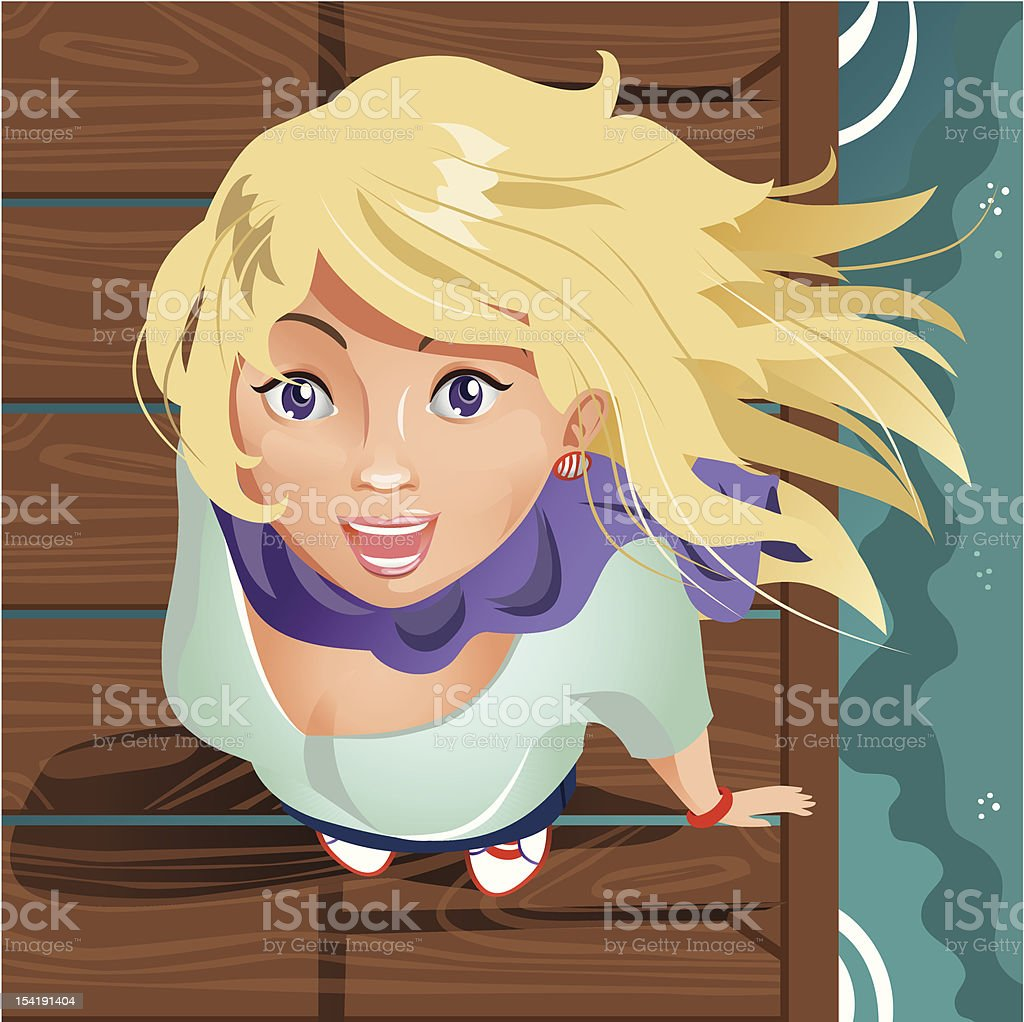 Smiling Girl on the Wooden Pier royalty-free stock vector art