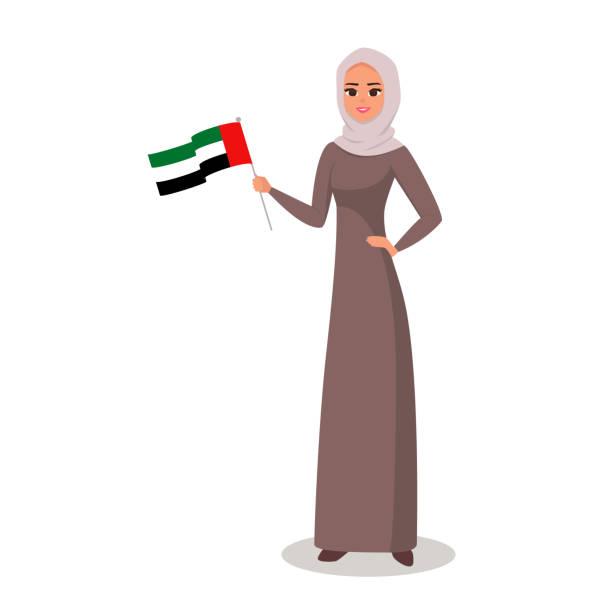 微笑的女孩用右手展示阿聯酋國旗。 - emirati woman 幅插畫檔、美工圖案、卡通及圖標