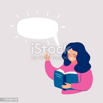 Smiling girl reading book. Speech bubble above. Human character vector illustration.