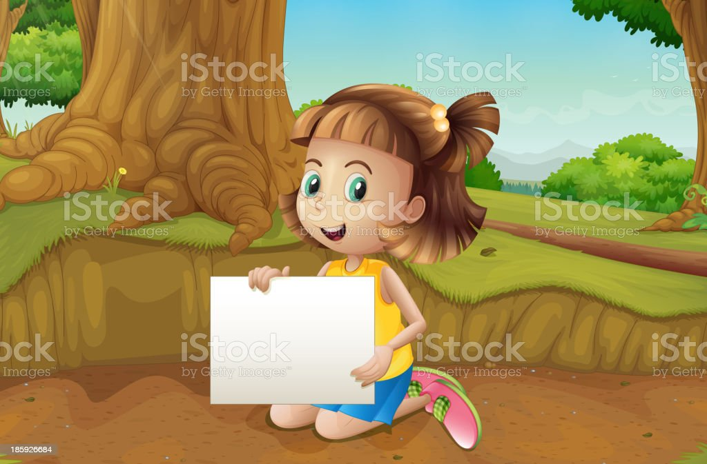 smiling girl sitting at  ground holding  empty signage royalty-free smiling girl sitting at ground holding empty signage stock vector art & more images of adult