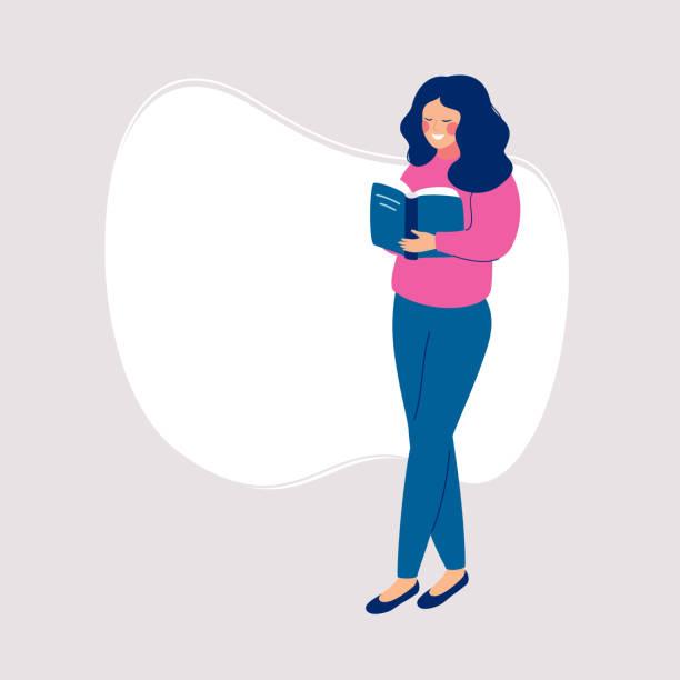 stockillustraties, clipart, cartoons en iconen met glimlachend meisje staande en heeft een open boek - woman home magazine