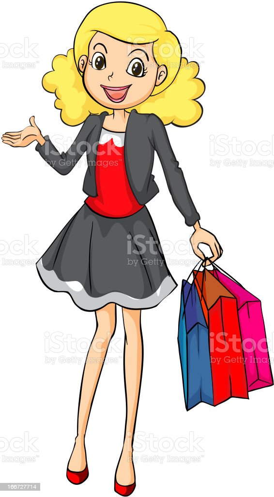 Smiling girl with bags royalty-free stock vector art