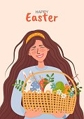 smiling girl with long brown hair with a basket of Easter eggs,spring flowers and an Easter bunny.Postcard concept for Easter. vector stock background in cartoon style.Young,happy woman with a bouquet