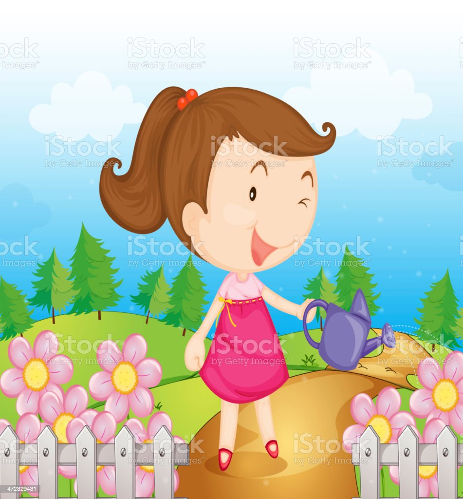 Smiling girl with water can vector art illustration