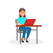 Smiling girl working on laptop computer at her office desk vector Illustration on a white background