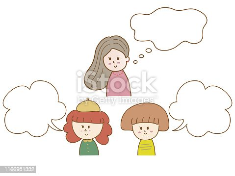 istock Smiling girls with speech bubble, vector illustration 1166951332