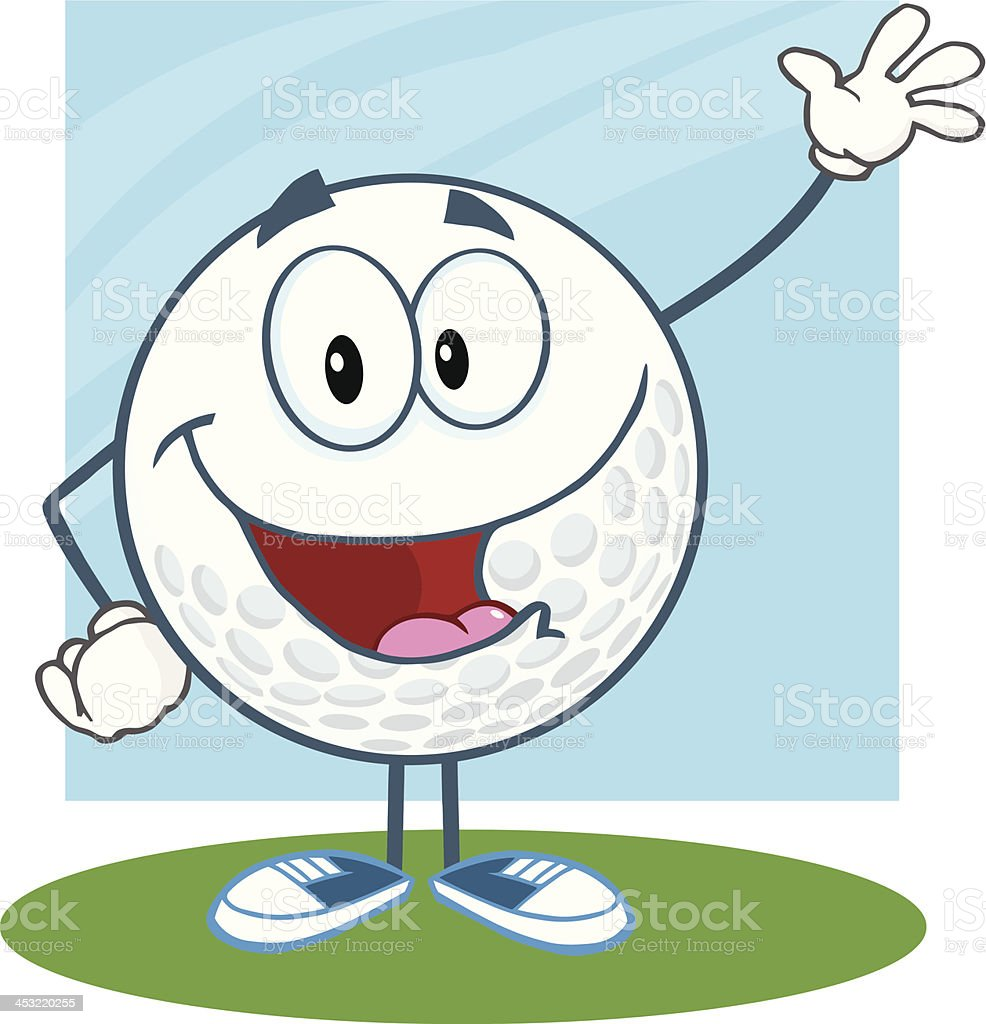 Smiling Golf Ball Waving For Greeting royalty-free smiling golf ball waving for greeting stock vector art & more images of backgrounds