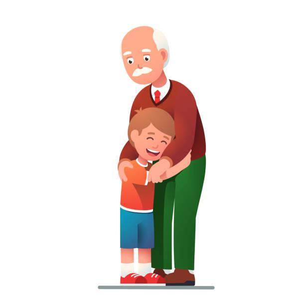 ilustraciones, imágenes clip art, dibujos animados e iconos de stock de abuelo sonriente abrazando nieto hijo - nieto