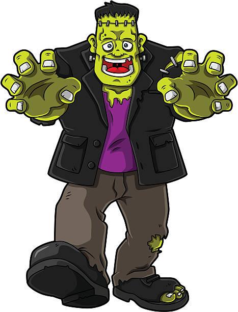 smiling green zombie monster - frankenstein stock-grafiken, -clipart, -cartoons und -symbole