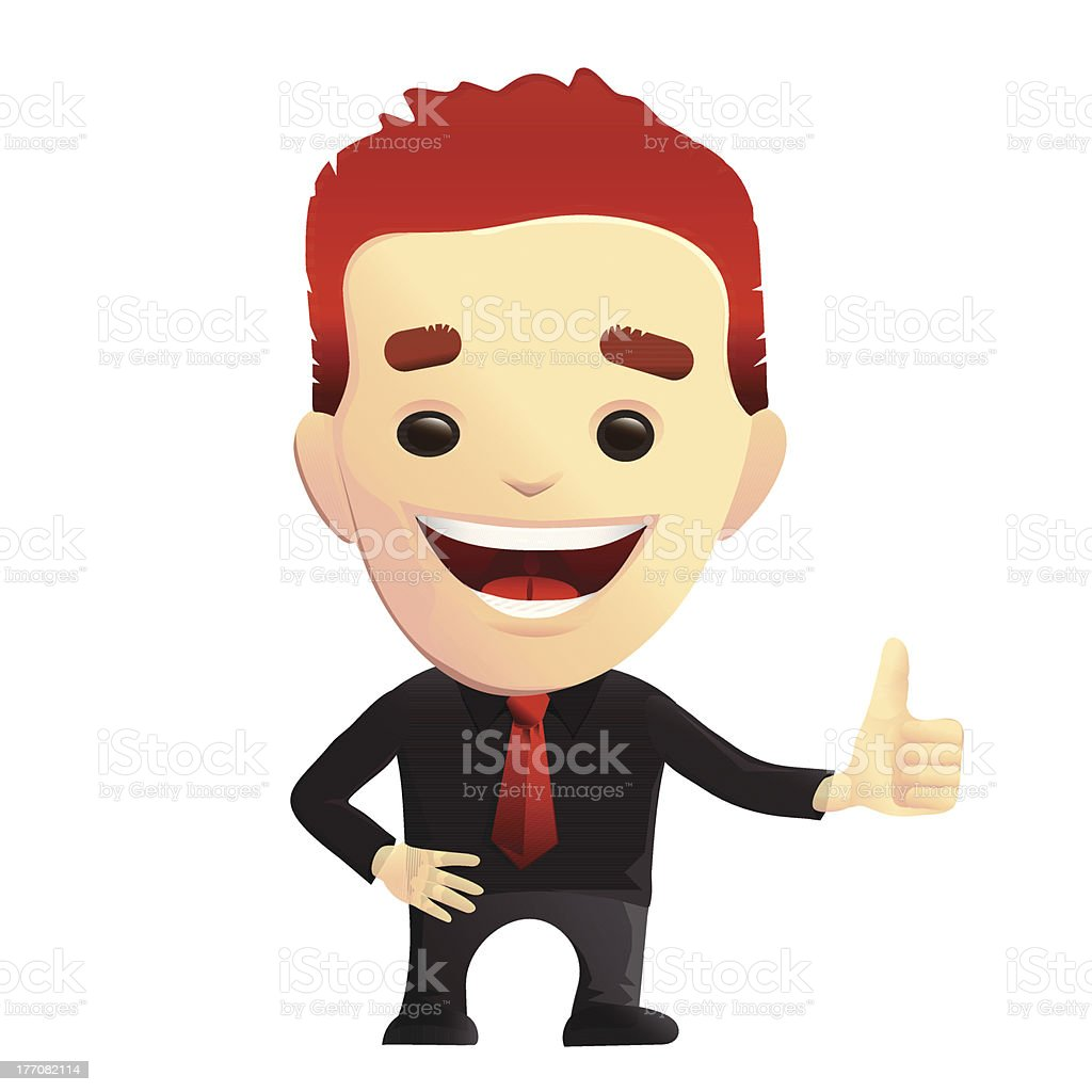 Smiling Guy giving Thumbs Up Approval royalty-free stock vector art