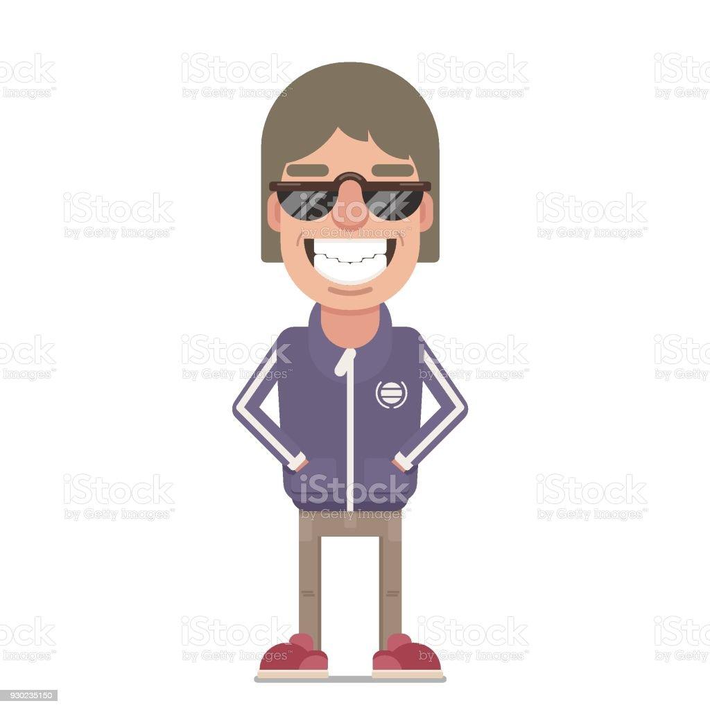 Smiling guy in sunglasses vector art illustration