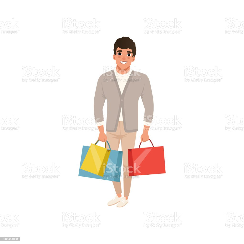 Smiling guy standing with shopping bags in hands. Sale in store. Cartoon character of young man in stylish clothes. Flat vector design royalty-free smiling guy standing with shopping bags in hands sale in store cartoon character of young man in stylish clothes flat vector design stock vector art & more images of adult