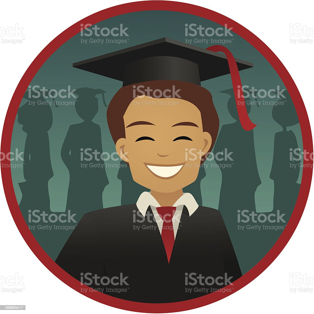 Smiling Guy With Mortarboard And Gown At Graduation Vector stock ...