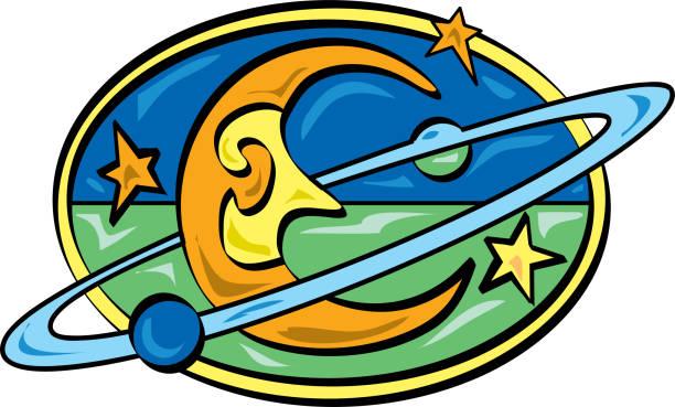 Smiling half-moon logo vector art illustration