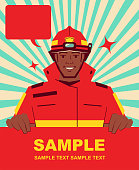 Unique Characters Vector Art Illustration. Smiling handsome African ethnicity firefighter holding blank sign.