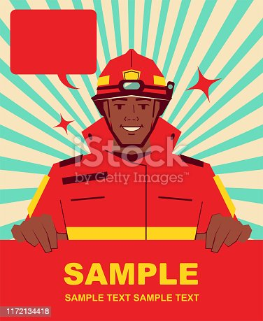 istock Smiling handsome African ethnicity firefighter holding blank sign 1172134418
