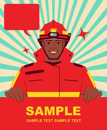 Smiling handsome African ethnicity firefighter holding blank sign