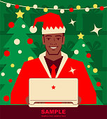 Unique Characters Vector Art Illustration. Smiling handsome African Ethnicity man dressed in a Santa Claus suit working on a laptop.