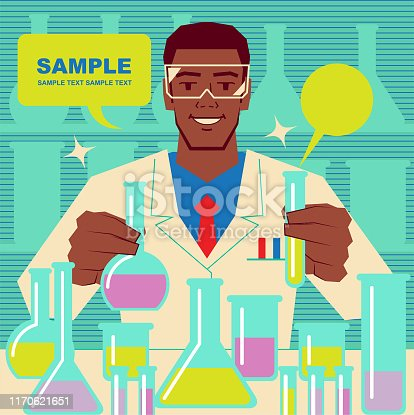 Unique Characters Full Length Vector art illustration. Smiling handsome African ethnicity scientist or chemist doing scientific experiment.